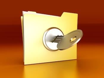 A secured / encrypted Folder. 3D rendered Illustration.