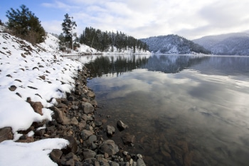 A winter scene at Higgens Point on Lake Coeur d'Alene in northern Idaho